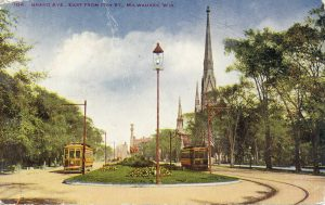 The west end of Grand Avenue was considered to be more rural than the east end. This 1914 postcard of Grand Avenue from 11th Street features large trees and more extensive green space.