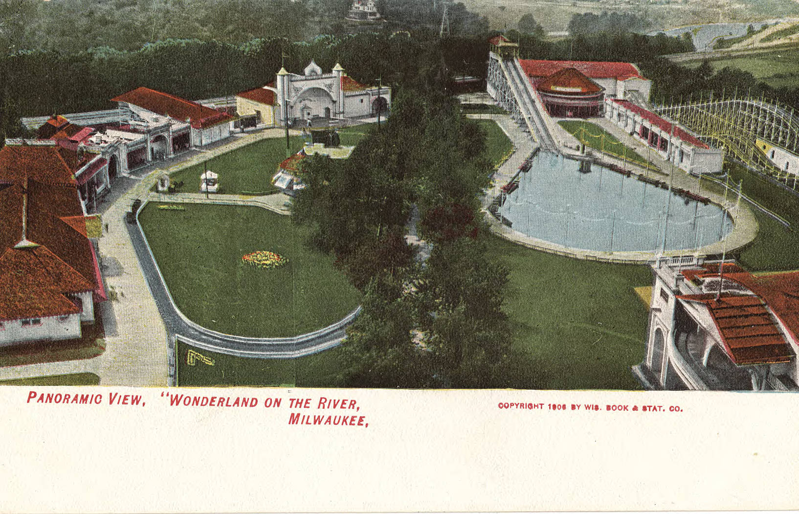 This postcard provides an aerial view of the Wonderland amusement park at the beginning of the 20th century, first opened as Lueddemann's-on-the-River in 1872.