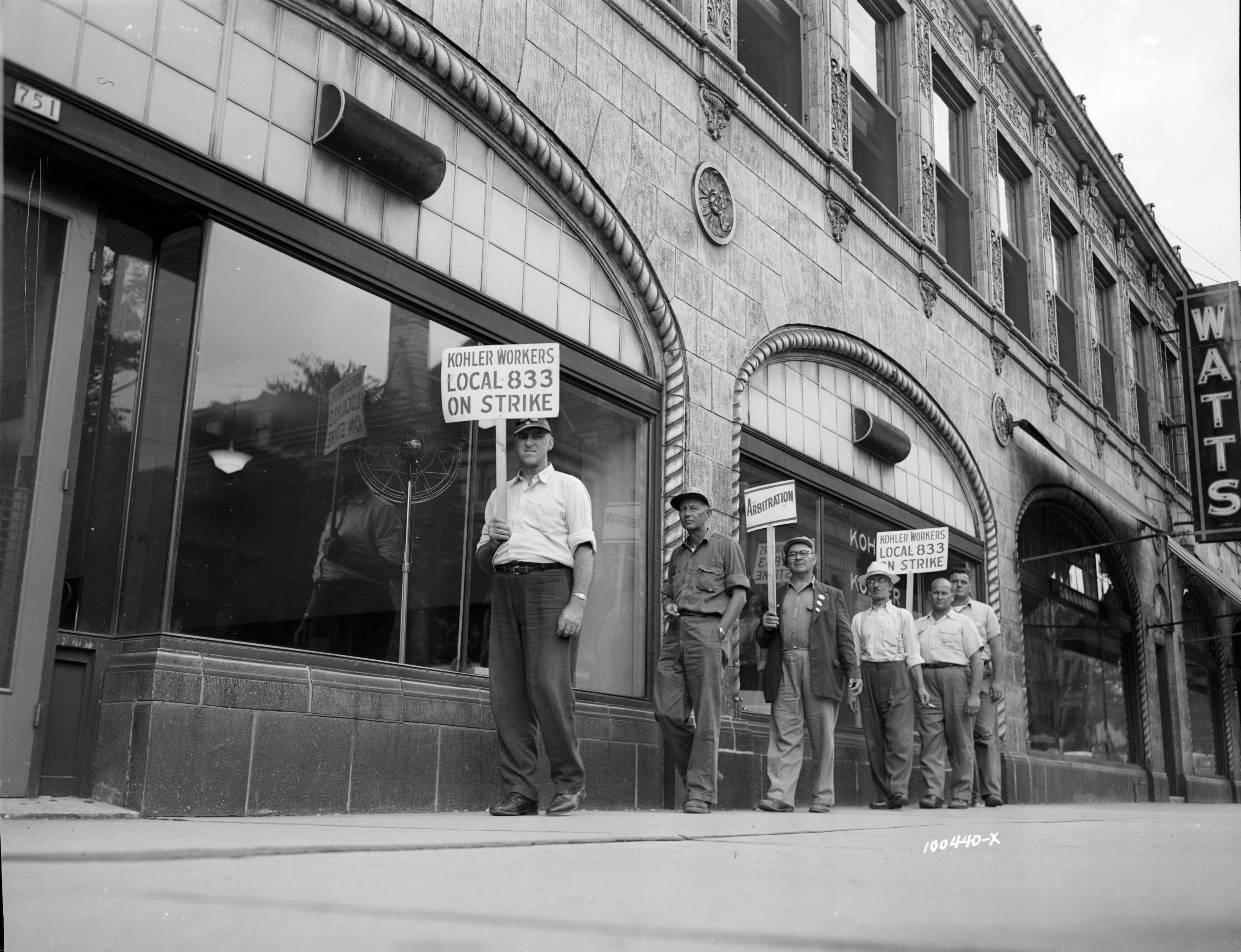 <table class=&quot;lightbox&quot;><tr><td colspan=2 class=&quot;lightbox-title&quot;>Kohler Workers on Strike</td></tr><tr><td colspan=2 class=&quot;lightbox-caption&quot;>A group of Kohler workers from Sheboygan County picket in front of the Watts Tea Shop on Jefferson Street in 1954.</td></tr><tr><td colspan=2 class=&quot;lightbox-spacer&quot;></td></tr><tr class=&quot;lightbox-detail&quot;><td class=&quot;cell-title&quot;>Source: </td><td class=&quot;cell-value&quot;>From the James Blair Murdoch Photographs. Archives, University of Wisconsin-Milwaukee Libraries.<br /><a href=&quot;https://collections.lib.uwm.edu/digital/collection/jbmurdoch/id/2255/rec/2343&quot; target=&quot;_blank&quot;>University of Wisconsin-Milwaukee Libraries</a></td></tr><tr class=&quot;filler-row&quot;><td colspan=2>&nbsp;</td></tr></table>