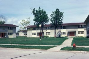This 1974 photograph illustrates the courtyard style housing of Highland Park, built in the 1960s.