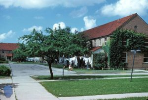 The Parklawn housing development shown here in 1949 features a quiet residential street and the low-rise family public housing characteristic of Milwaukee.
