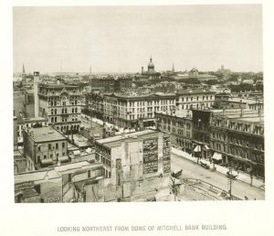 This image looking northeast from the Mitchell Bank Building provides a view of Milwaukee's downtown in 1885.