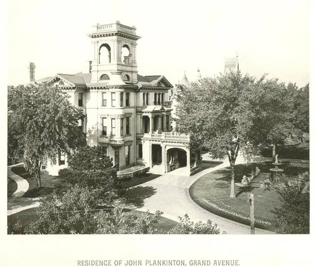 Before constructing a mansion for his daughter, John Plankinton established his own residence on Grand Avenue in 1864, pictured here in 1885. It was razed in 1975.