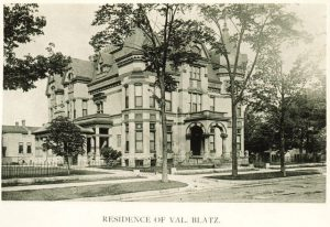 The large residence of brewer Val Blatz on Van Buren Street is pictured here in 1895.