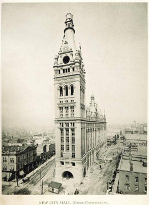 Milwaukee's City Hall, pictured here under construction in 1895, was influenced by German architectural styles.