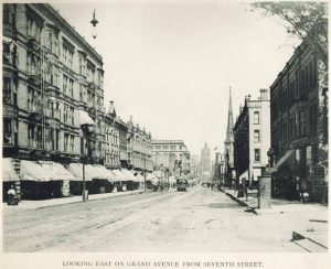 The Norman Building, seen left in this 1895 view down Wisconsin Avenue, was destroyed by a fire in 1991. The Grand Avenue Methodist Church visible on the right was razed in 1908.