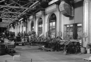 This 1983 photograph provides a look inside the railway's sheet metal shop located on W. Canal Street. Before it was the sheet metal shop, this structure housed the car paint and repair shop.