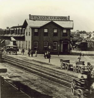 The Union Depot on Reed Street was built in 1866 and used for passenger traffic. The station and train tracks are pictured here not long after construction was completed.