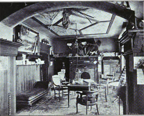 In its earliest years of existence, the Milwaukee Press Club established its home in rooms on the third floor of Adam Roth's Quiet House saloon, on the corner of E. Mason and N. Broadway Streets. One of the several rooms is depicted here around 1895.