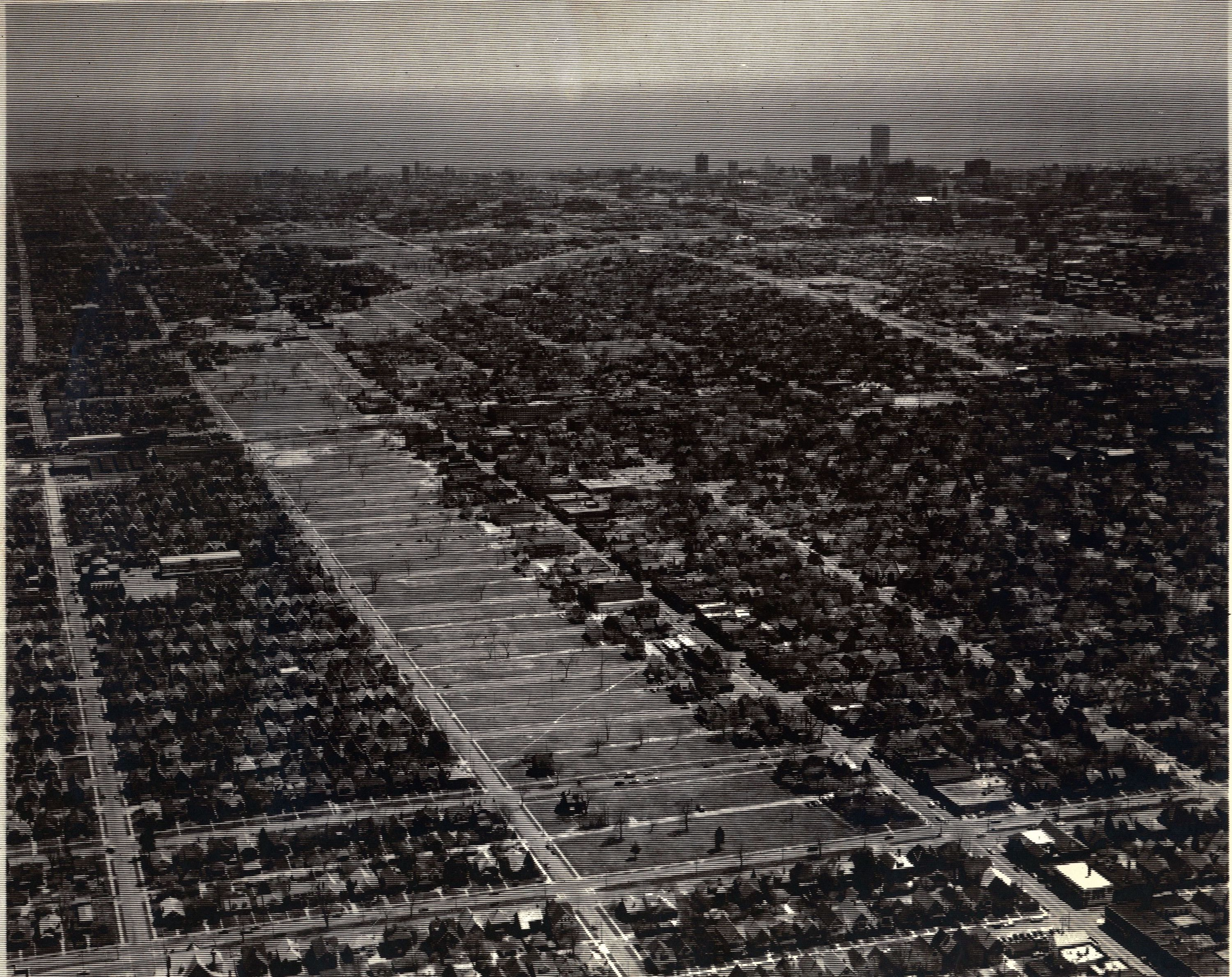 This undated photograph shows the relationship between freeway development and Milwaukee's urban fabric.