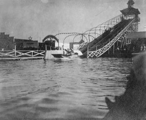 """The Wonderland park in Shorewood featured a """"Shoot the Chutes,"""" an attraction where passengers rode a flat-bottomed boat down a flume into a lagoon."""