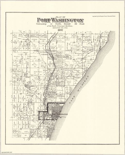This reproduction of an 1892 plat map illustrates the rural landscape of the Town of Port Washington that surrounded the city's limits.