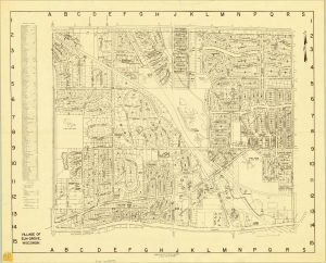 The village of Elm Grove first developed around Watertown Plank Road and continues to feature large residential lots, as illustrated by this map from the 1960s.