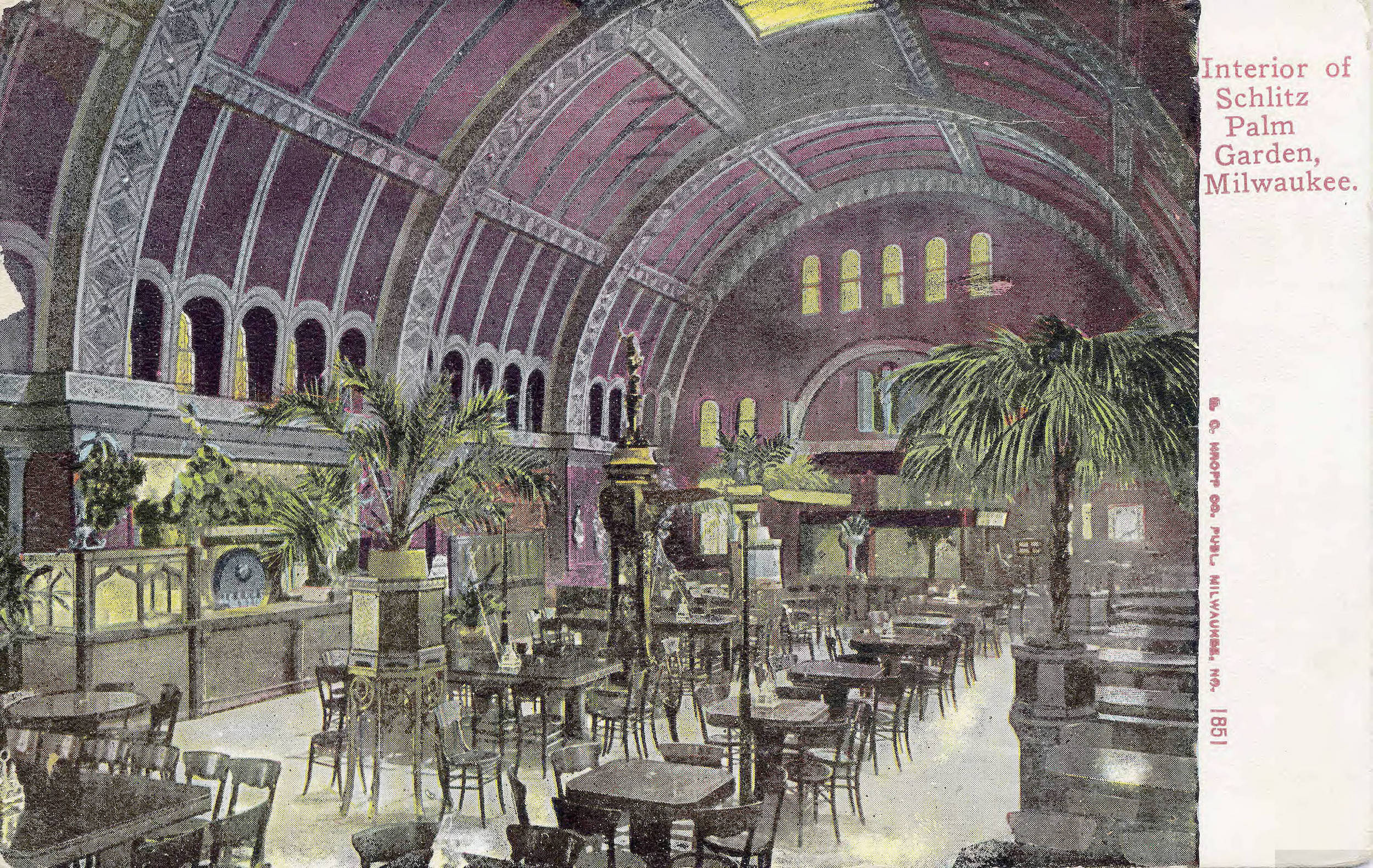 This 1911 postcard illustrates the domed interior of the Schlitz Palm Garden, which offered patrons fine food, music, and dancing.