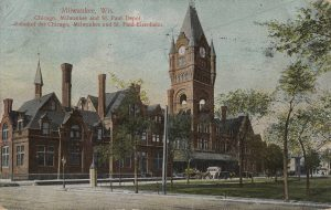This 1910 postcard showcases the large Milwaukee Road station once located on W. Everett Street. It was designed by prominent architect E. Townsend Mix and first opened in 1886.