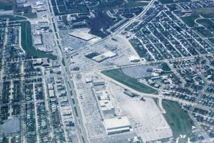 This 1983 aerial photograph provides a view of the Southgate Shopping Center, Milwaukee's first shopping mall, and the surrounding neighborhood.