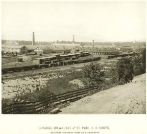 The West Milwaukee Shops of the railroad were mainstays of the Menomonee Valley for decades. They are pictured here around 1885.