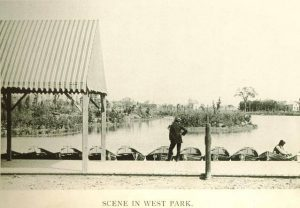 Residential development in Washington Heights was spurred by the construction of West Park, later renamed Washington Park. A scene of the park's lagoon is pictured here in 1895.