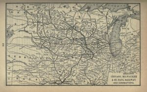 This 1893 map illustrates the extensive reach of the Milwaukee Road across the Midwest.
