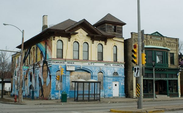 Pictured here in 2010, the former Inner City Arts Council building features a mural by local community artist Reynaldo Hernandez.