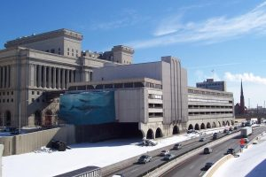 In 1997, artist Robert Wyland donated this mural of whales to Milwaukee County. It was featured on the county courthouse annex until it and the annex were demolished in 2006 as part of the Marquette Interchange reconstruction.