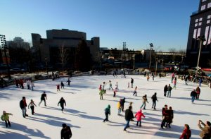 The ice skating rink at Red Arrow Park opened in 1999 and continues to be a popular winter attraction for Milwaukee residents.