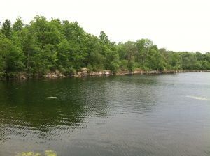 This pond in Menomonee Park was once part of a quarry site. The park, partially located in both Lannon and Menomonee Falls, offers swimming and other recreational activities for visitors.