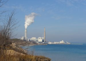The Wisconsin Electric power plant in Oak Creek, pictured here in 2012, began operation in 1953 and catalyzed an annexation battle with the city of Milwaukee. The culminating legislation, known as the Oak Creek Law, resulted in the incorporation of the City of Oak Creek.