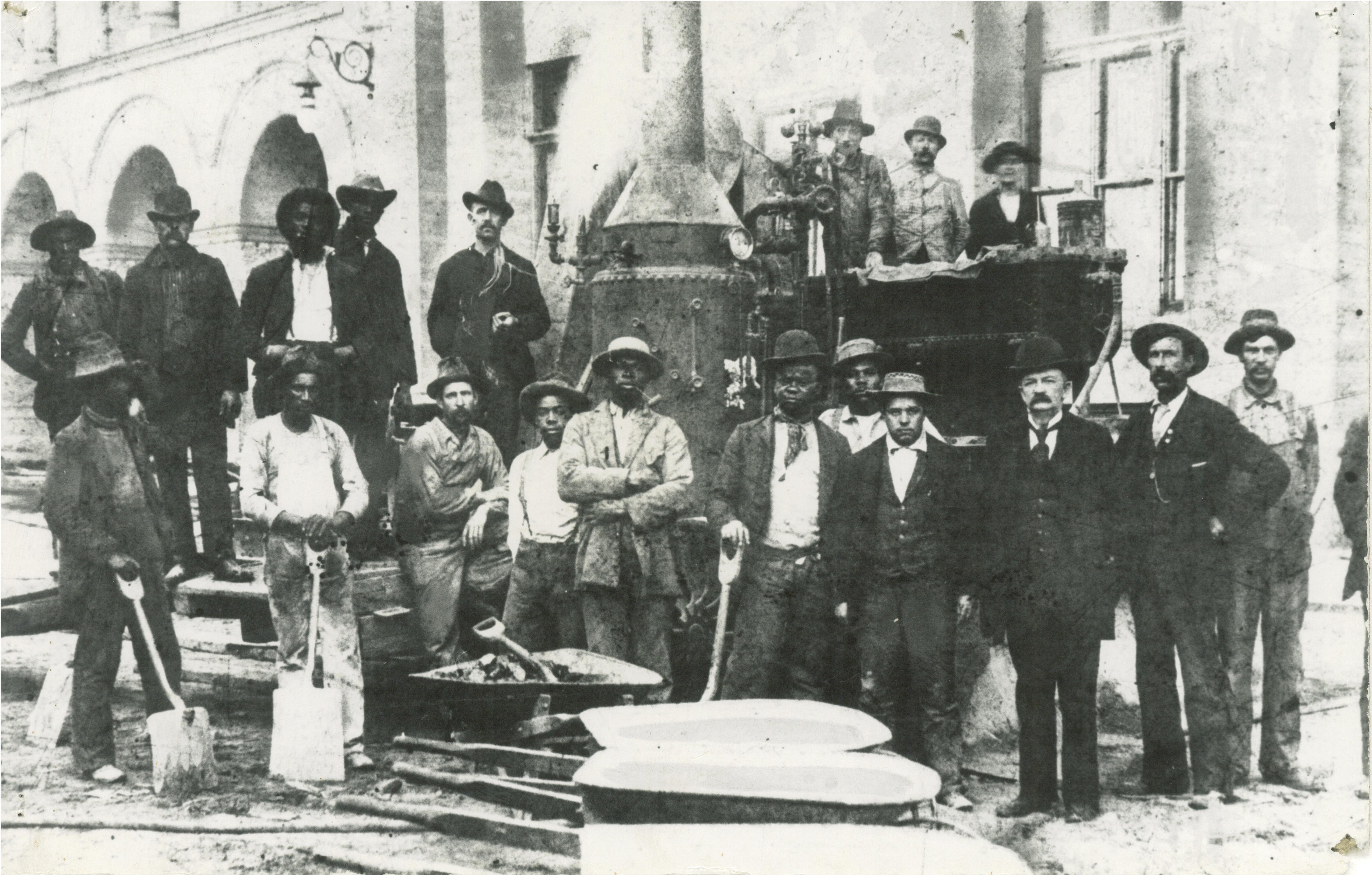 <table class=&quot;lightbox&quot;><tr><td colspan=2 class=&quot;lightbox-title&quot;>Construction Workers at City Hall</td></tr><tr><td colspan=2 class=&quot;lightbox-caption&quot;>A group of African American construction workers, along with some Caucasian men, pose for a photograph as they work on Milwaukee's City Hall in 1896. </td></tr><tr><td colspan=2 class=&quot;lightbox-spacer&quot;></td></tr><tr class=&quot;lightbox-detail&quot;><td class=&quot;cell-title&quot;>Source: </td><td class=&quot;cell-value&quot;>From the Historic Photo Collection of the Milwaukee Public Library. Reprinted with permission.<br /><a href=&quot;http://content.mpl.org/cdm/singleitem/collection/HstoricPho/id/3764/rec/15&quot; target=&quot;_blank&quot;>Milwaukee Public Library</a></td></tr><tr class=&quot;filler-row&quot;><td colspan=2>&nbsp;</td></tr></table>