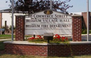 The Village of Belgium, located within the larger town, was incorporated in 1922 and maintains its own village hall, pictured here in 2006.