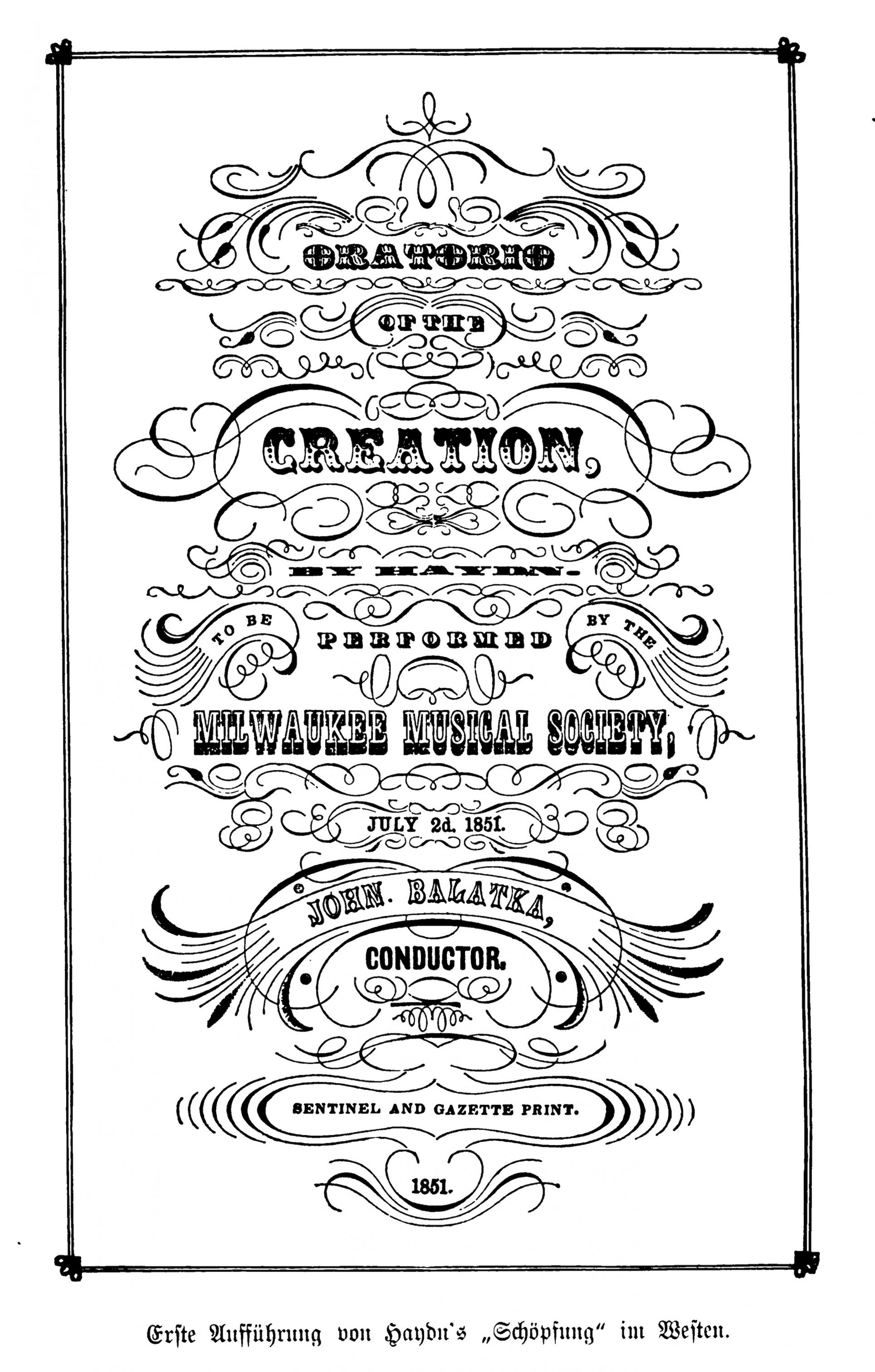 This poster from 1851 advertises an upcoming Milwaukee Musical Society performance.