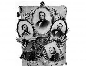 The five men pictured in this illustration are listed as the founders of the Milwaukee Musical Society. Note the image of General Rufus King, future Milwaukee mayor, on the upper left.