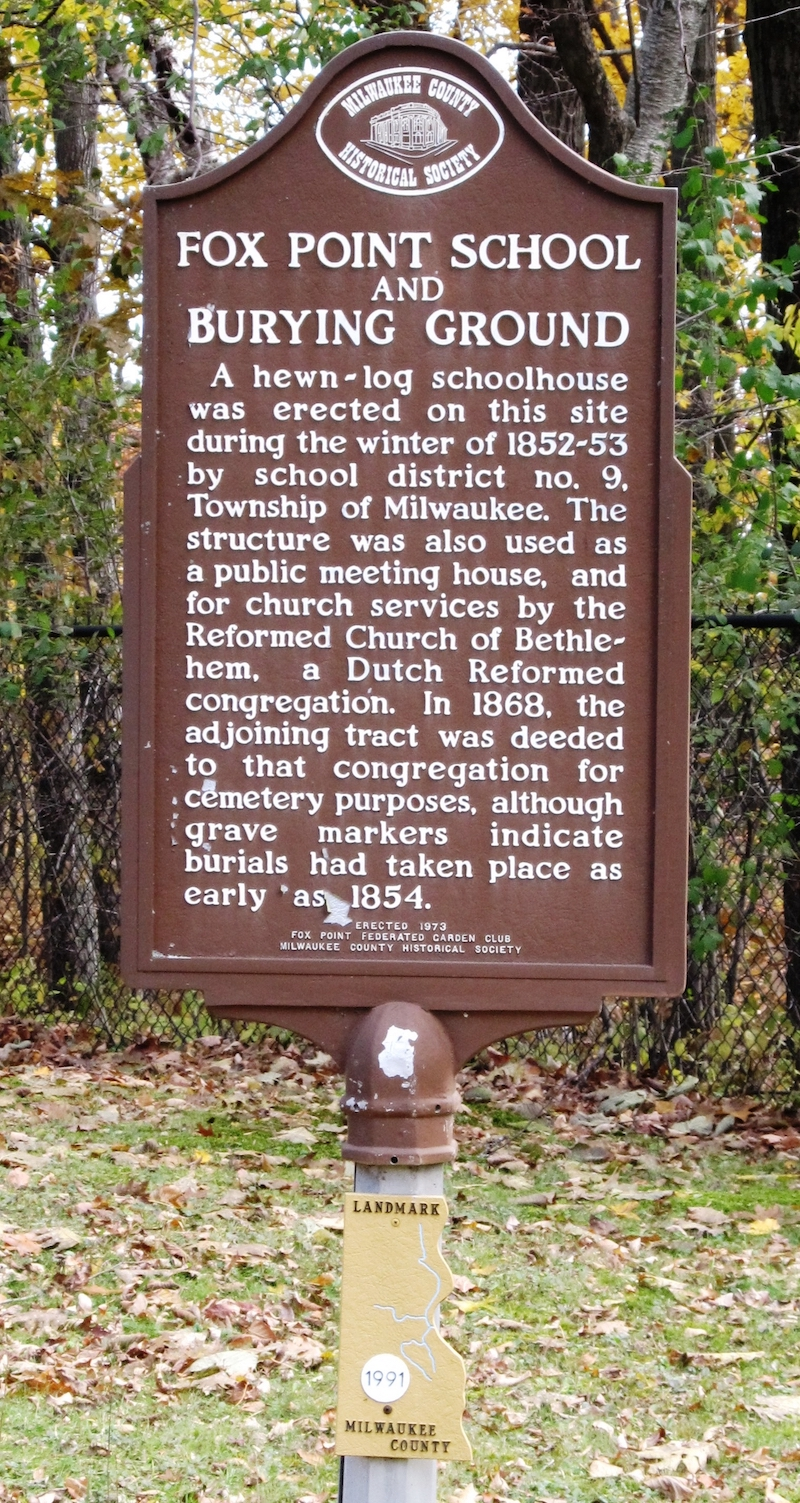 While little physical evidence of Milwaukee's Dutch community remains today, this historical marker in Fox Point acknowledges their 19th-century presence.