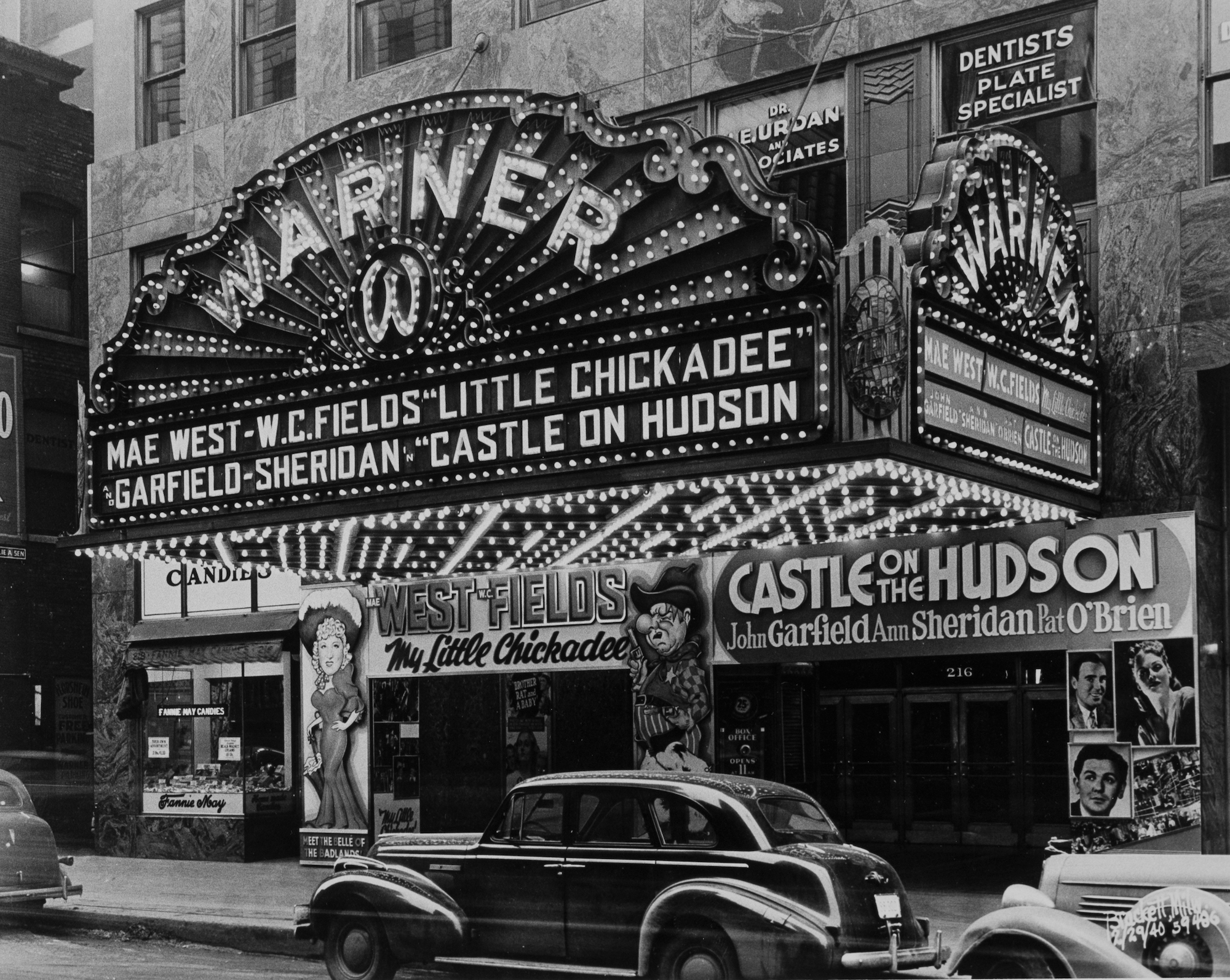 This 1940 photograph showcases the ornate marquee of the Warner Theater on Wisconsin Avenue.