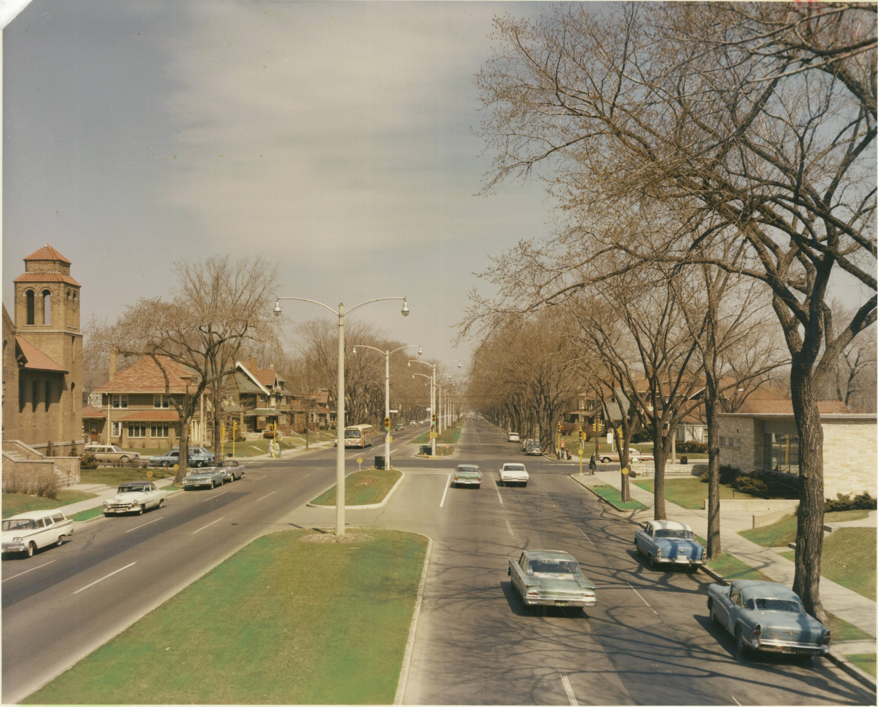 Taken in the summer of 1963, this photograph provides a view of N. Sherman Boulevard from North Avenue.