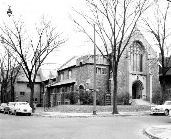 Founded in 1841 as the First Congregational Society, Plymouth Church UCC is one of the oldest congregations in Milwaukee. Its current building, pictured here in 1953, has been the congregation's home since 1914.