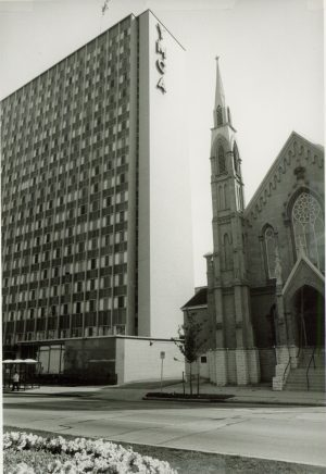 Fundraising efforts following the end of WWII led to the construction of a new central YMCA building on Wisconsin Avenue in 1957, as pictured here. The building has also served as a dormitory for Marquette University.