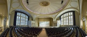 Today, the Zelazo Center serves as a performing arts venue for UW-Milwaukee, and what was once the large worship space is now an auditorium that seats 758 people. The stained glass windows installed in 1931 remain.