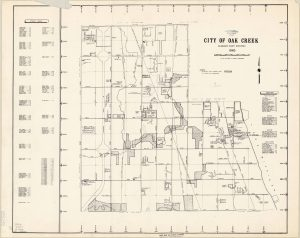 This map illustrates the City of Oak Creek as it appeared in 1965, including county park land and places of interest.