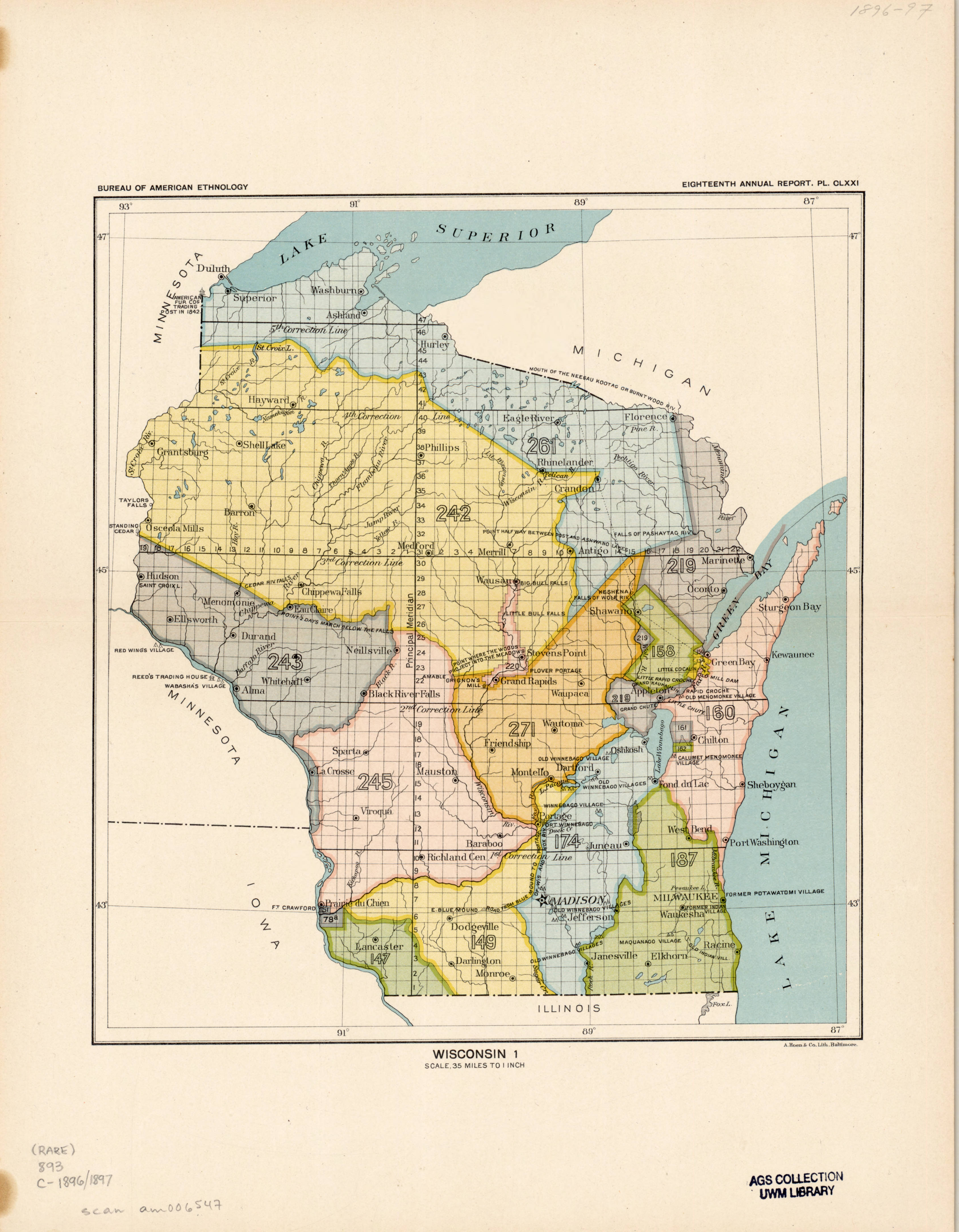 <table class=&quot;lightbox&quot;><tr><td colspan=2 class=&quot;lightbox-title&quot;>Map of Land Cessions</td></tr><tr><td colspan=2 class=&quot;lightbox-caption&quot;>Before Milwaukee became a city, the western shore of Lake Michigan and what we know now as Southeast Wisconsin was Indian Country.  In 1829, the Menominee Indians ceded the land in the pink area to the U.S.  The Chippewa, Ottawa, and Potawatomi ceded the land in green area  to the U.S. in 1832.  Together, these land cessions reshaped the geography of the southwestern shore of Lake Michigan, and made the area we now call the Milwaukee metropolitan area United States land.</td></tr><tr><td colspan=2 class=&quot;lightbox-spacer&quot;></td></tr><tr class=&quot;lightbox-detail&quot;><td class=&quot;cell-title&quot;>Source: </td><td class=&quot;cell-value&quot;>From the Eighteenth Annual Report of the Bureau of American Ethnology to the Secretary of the Smithsonian Institution, 1896-1897. Accessed via the Library of Congress. <br /><a href=&quot;http://memory.loc.gov/ammem/amlaw/lwss-ilc.html&quot; target=&quot;_blank&quot;>Library of Congress</a></td></tr><tr class=&quot;filler-row&quot;><td colspan=2>&nbsp;</td></tr></table>