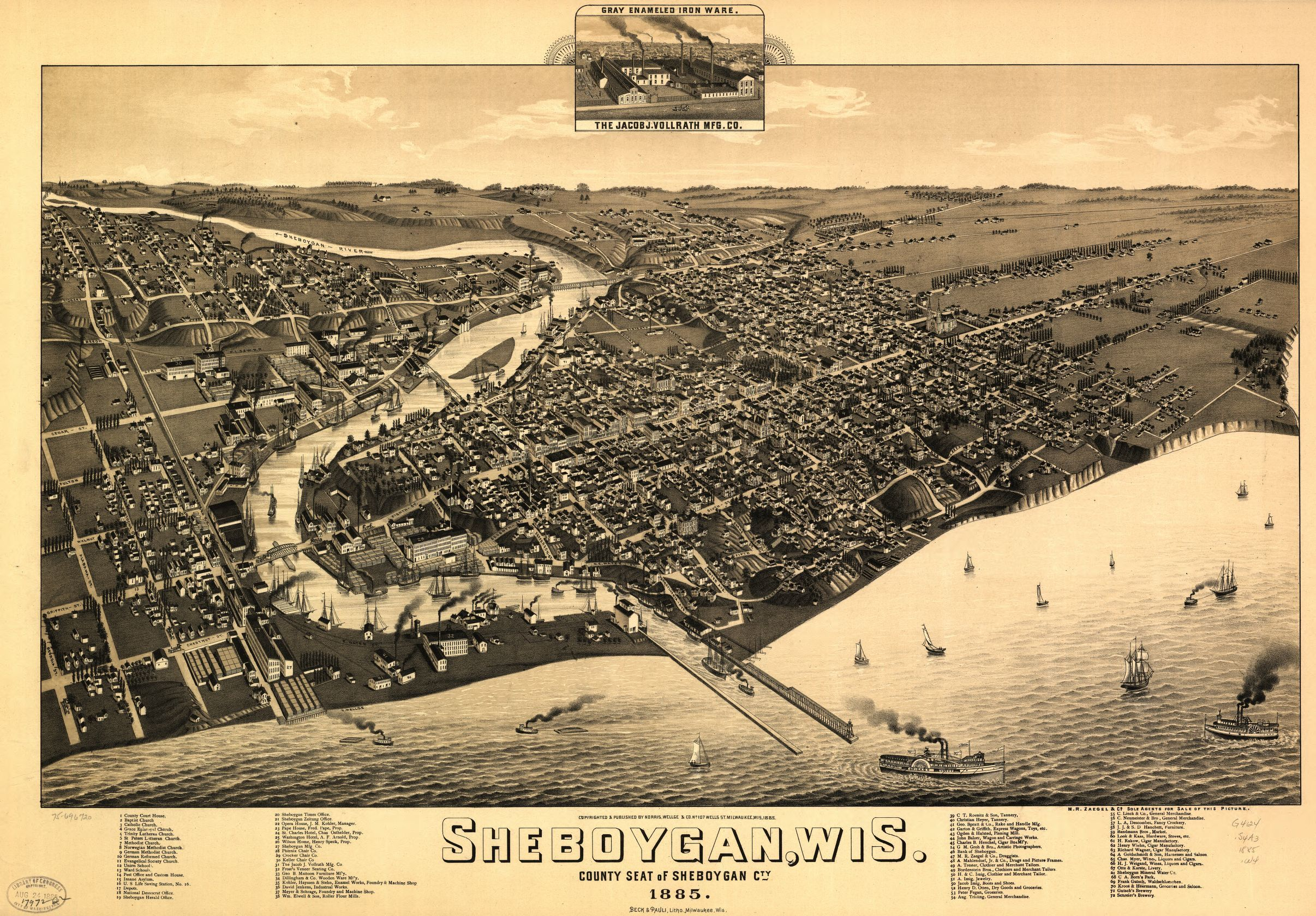 This map illustrates the city of Sheboygan as it appeared in 1885. Begun as a small village in 1836, the city grew to become the county seat of Sheboygan County.