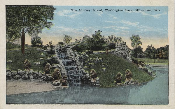 One of Washington Park's first popular animal exhibits was Monkey Island, illustrated on this 1927 postcard.