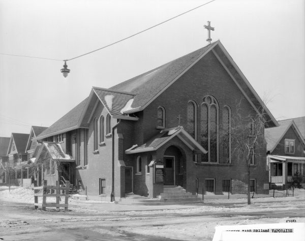 Many of Milwaukee's early Baptist churches were established within specific ethnic communities. The Polish Baptist Church, pictured here in 1930, was located in Milwaukee's Polish neighborhood on the city's south side.
