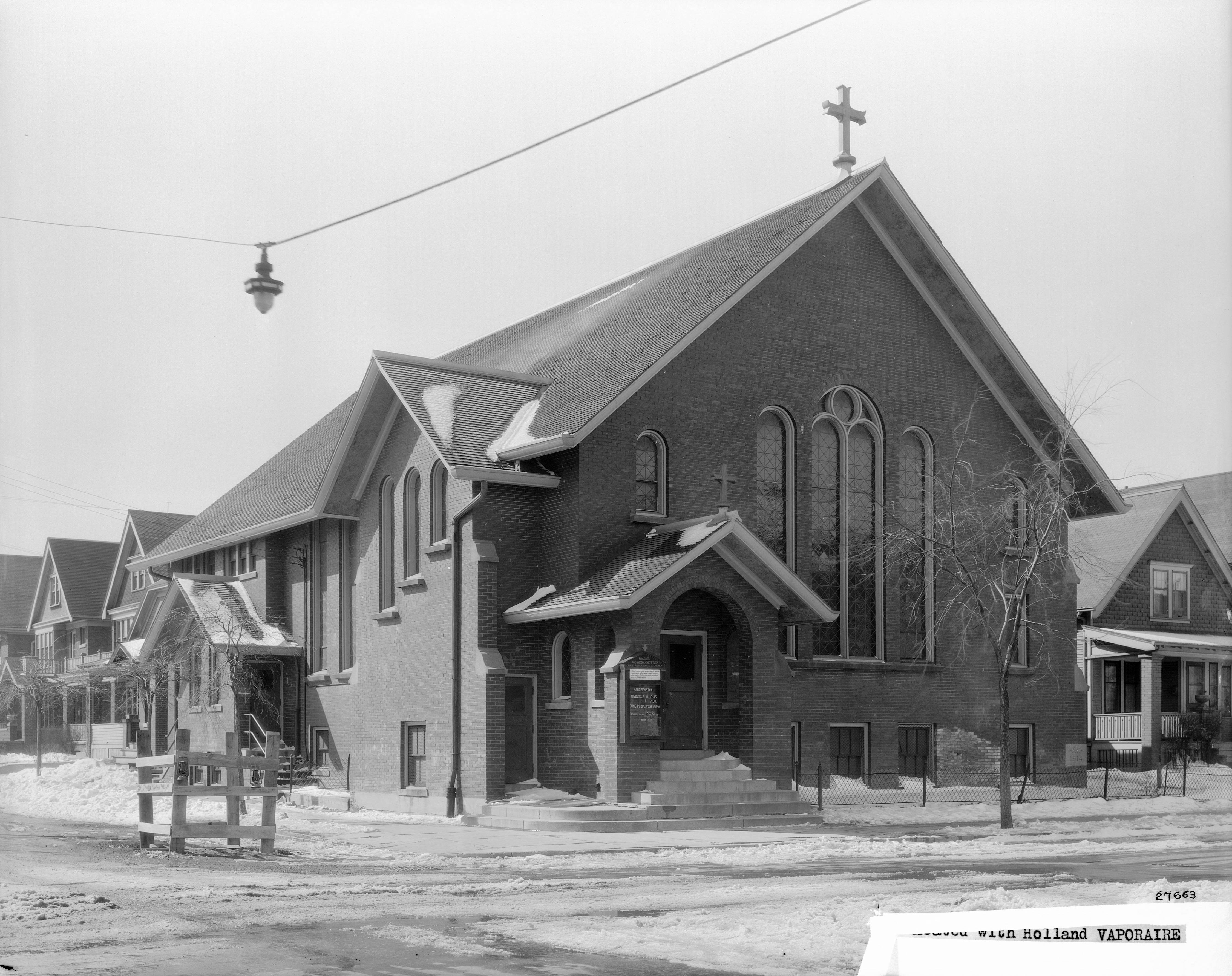 <table class=&quot;lightbox&quot;><tr><td colspan=2 class=&quot;lightbox-title&quot;>Christ Polish Baptist Church</td></tr><tr><td colspan=2 class=&quot;lightbox-caption&quot;>Many of Milwaukee's early Baptist churches were established within specific ethnic communities. The Polish Baptist Church, pictured here in 1930, was located in Milwaukee's Polish neighborhood on the city's south side.  </td></tr><tr><td colspan=2 class=&quot;lightbox-spacer&quot;></td></tr><tr class=&quot;lightbox-detail&quot;><td class=&quot;cell-title&quot;>Source: </td><td class=&quot;cell-value&quot;>From the James Blair Murdoch Photographs. Archives, University of Wisconsin-Milwaukee Libraries.<br /><a href=&quot;https://collections.lib.uwm.edu/digital/collection/jbmurdoch/id/465/rec/6&quot; target=&quot;_blank&quot;>University of Wisconsin-Milwaukee Libraries</a></td></tr><tr class=&quot;filler-row&quot;><td colspan=2>&nbsp;</td></tr></table>