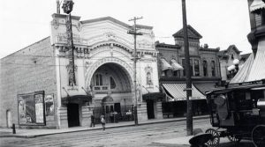 This photograph features the first Modjeska Theater, which stood from 1910 to 1923. The building was then razed and replaced with the new Modjeska Theater in 1924.