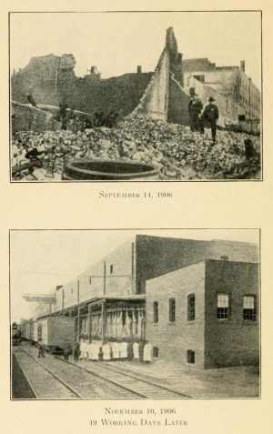 In September 1906, the Cudahy Brothers plant caught fire and sustained significant damage. However, as illustrated by these images, the building was restored and running 49 days later.