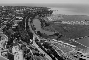 Taken in 1979, this photograph provides a view of the Lakefront Festival of Art from the First Wisconsin Building.