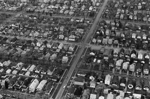 This photograph illustrates a residential neighborhood on Milwaukee's north side in 1980.