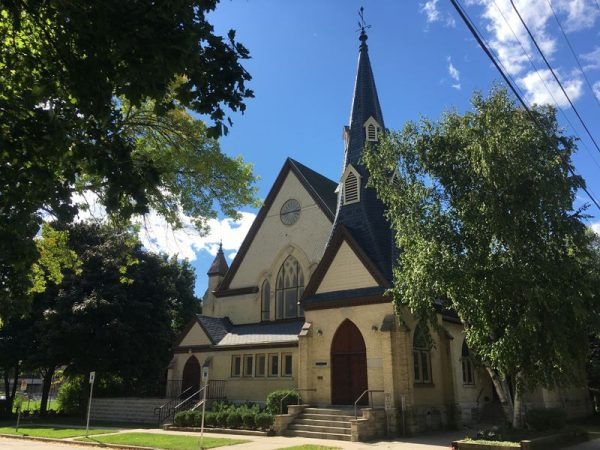 The Milwaukee Latvian Evangelical Lutheran Holy Trinity Church, located in Wauwatosa, is housed in a church originally built in 1888 for the First Baptist Church of Wauwatosa.