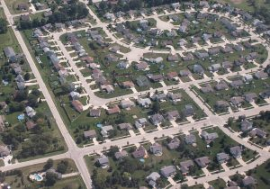 This aerial view highlights the predominance of single family homes and large lots in Milwaukee's suburbs.